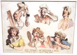 """Six Stages of Mending a Face, Dedicated with Respect to the Right Honorable Lady Archer,"" by Thomas Rowlandson, 1792"