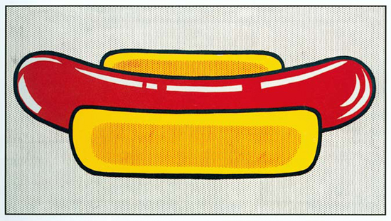 """Hot Dog,"" Lichtenstein, 1963"