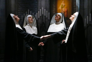 Jessica Molasky as Sister Berthe, Elena Shaddow as Sister Sophia, Audra McDonald as Mother Abbess, Christiane Noll as Sister Margaretta. Photo by: Will Hart/NBC.